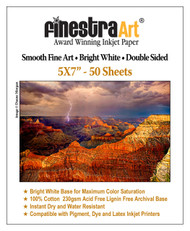 "5"" X 7"" Smooth Fine Art Archive Bright White Double Sided Inkjet - 50 Sheets"