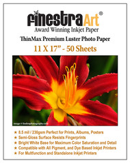 "11"" X 17"" ThinMax Premium Luster Inkjet Photo Paper - 50 Sheets"