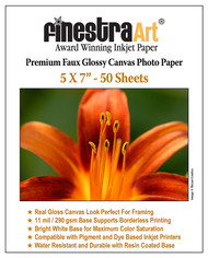 "5""X 7"" Premium Faux Glossy Canvas Inkjet Photo Paper - 50 Sheets"