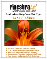 "8.5"" X 11"" Premium Faux Glossy Canvas Inkjet Photo Paper - 5 Sheets"