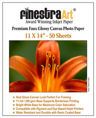 11x14 Premium Faux Glossy Canvas Inkjet Photo Paper - 50 Sheets