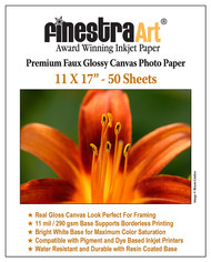 11x17 Premium Faux Glossy Canvas Inkjet Photo Paper - 50 Sheets
