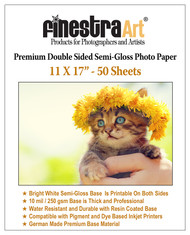 "11"" X 17"" Premium Double Sided Semi Gloss Inkjet Photo Paper - 50 Sheets"