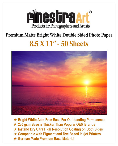 "8.5x11"" 50 Sheets Premium Matte Bright White Inkjet DS Photo Paper 230gsm"