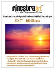"5x7"" 100 Sheets Premium Matte Bright White Inkjet DS Photo Paper 230gsm"