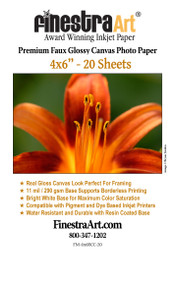 "4"" X 6"" Premium Faux Glossy Canvas Inkjet Photo Paper - 20 Sheets"