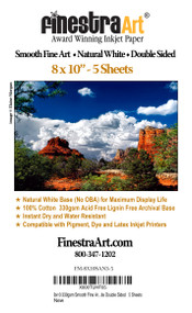 "8"" X 10"" Smooth Art Natural White Inkjet Paper Double Sided - 5 Sheets"