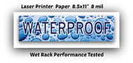 "WaterProof / Display  Laser Printer Paper 8.5""x11"" 8 mil  50 sheets"