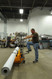Foot pump lifts the heavy roll