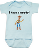 I have a Woody Baby Onesie, Woody baby onsie, Toy Story, There's a snake in my boot, punny baby gift, blue