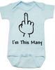 I'm This Many Baby Onesie, middle finger onsie, funny first birthday onesie, personalized birthday onesie, flipping the bird, I'm one baby bodysuit, blue