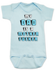 My Dad is a Mother Fucker Onesie, Funny offensive Baby Shower gift, daddy is a mother fucker, blue