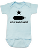 Come and take it Onesie, Baby Texas Proud, Southern State Pride Onesie, Funny Texas Onsie, redneck baby, born in the south, gun rights, second amendment, Texas revolution, battle of Gonzales, right to bear arms baby onesie, blue