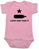 Come and take it Onesie, Baby Texas Proud, Southern State Pride Onesie, Funny Texas Onsie, redneck baby, born in the south, gun rights, second amendment, Texas revolution, battle of Gonzales, right to bear arms baby onesie, pink
