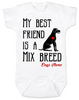 My Best Friend is a Mix Breed Baby Onesie, Mixed Breed Puppy Love Onsie, Babies Best Friend, Love-a-Mutt, personalized dog lover onesie, unique baby shower gift, personalized baby birthday gift, cute I love my dog baby clothes, badass dog onesie, Rescue dog, Personalized with custom name