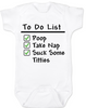 To Do List baby onesie, funny breast feeding baby onsie