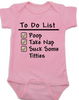 To Do List baby onesie, funny breast feeding baby onsie, pink