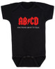 ABCD, For those about to talk, AC/DC baby onesie, for those about to rock, classic rock baby onsie, band onesie, black