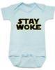 Stay Woke Star Wars Logo baby onesie, Blue