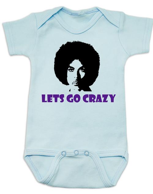 Prince baby onesie white, Prince lets go crazy