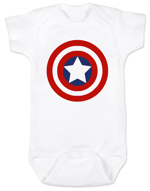 Captain America Baby Onesie, Patriotic baby onsie, 4th of July, Fourth of July, Memorial Day, holiday baby bodysuit, Made in the USA, Captain America Shield