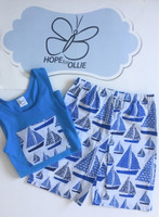 PJ Set - Sailing Boats (Blue singlet)