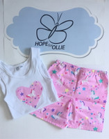 PJ Set - Pink Unicorns (White singlet)