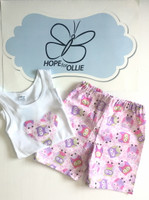 PJ Set - Pink Owls (White singlet)