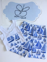 PJ Set - Sailing Boats (White singlet)
