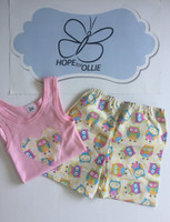 PJ Set - Yellow Owls (Pink singlet)