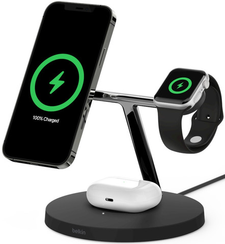 Belkin Boost Charge Pro 3-in-1 Wireless Charger with MagSafe (Black)