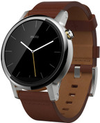 Moto 360 (2nd Gen) Large Silver with Cognac Leather