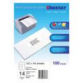 UNISTAT 38937  Laser Inkjet & Copier Labels 98 x 38mm 14 Labels/Sheet 1400 Labels/Pk