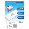 UNISTAT 38938 Laser Inkjet & Copier Labels 2 Labels/Sheet 148 x 210mm 200 Labels/Pk