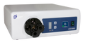 100W solid state lightsource with overlay panel, four port turret (ACMI, Wolf. Olympus, Storz), and digital dimming control. Accepts 120-240VAC, 50/60Hz input power; includes US hospital power cord and one-year warranty. Agency approved to UL 60601-1
