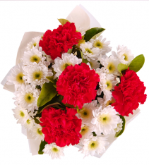 Mixed bouquet that includes carnations and free flowers local delivered by swedish florists.