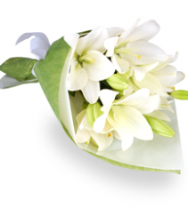 White lilies bouquet hand tied Sweden florist delivered.