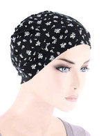 CHEMO CAP BUTTERY SOFT IN BLACK PETITE FLORAL