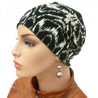 BLACK AND WHITE ACTIVITY CHEMO CAP