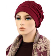 BURGUNDY SHIRRED CAP