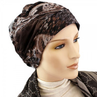 BROWN DUNS SHIRRED CAP TURBAN