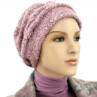 DUSTY PINK BOUCLE SHIRRED CAP