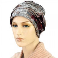 BURGUNDY BOUQUET SHIRRED CAP TURBAN