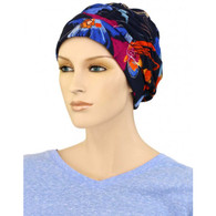 BRIGHT FLOWERS SHIRRED CAP TURBAN