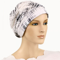 BLACK SILVER LINES SHIRRED CAP
