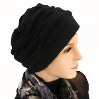 BLACK KNIT SHIRRED CHEMO CAP TURBAN