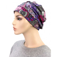 DOTS & CIRCLES SHIRRED CAP TURBAN