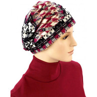 AZTEC PRINTS SHIRRED CAP TURBAN