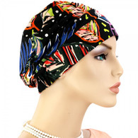 DOTS AND FLOWERS SHIRRED CAP TURBAN
