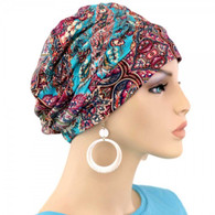 TURQUOISE PAISLEY SHIRRED CAP